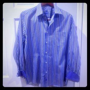 Men's Bugatchi Uomo Blue Striped Button Down Shirt